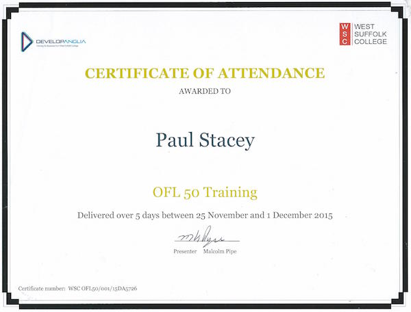 OFL 50 training certificate